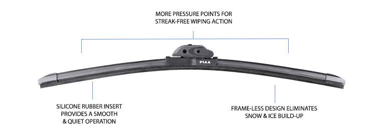 PIAA Si-Tech Front Aero Flat Wiper Blade Set 600mm 18 450mm Silicone 24