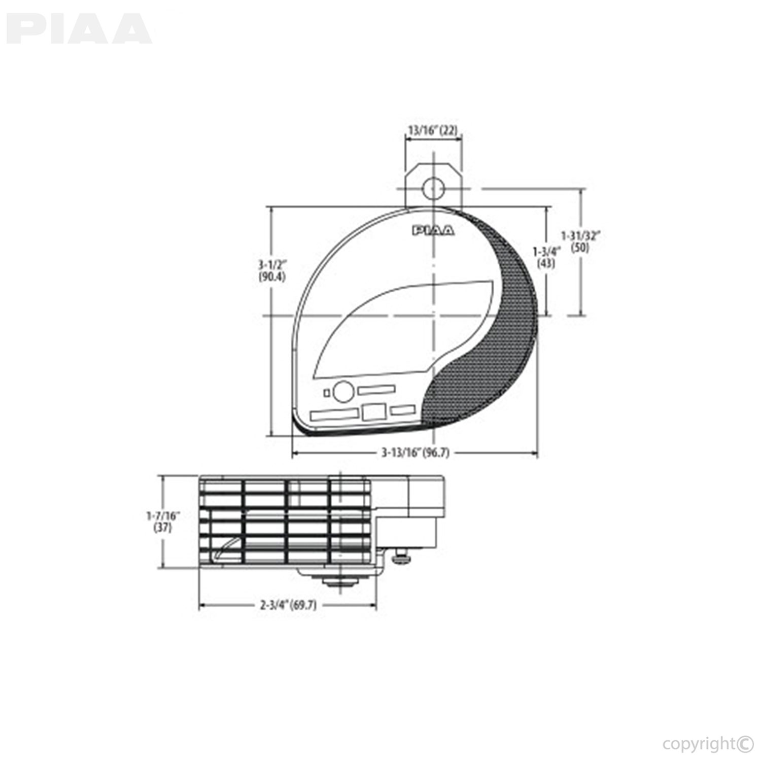 Piaa horn wiring diagram diy enthusiasts wiring diagrams piaa powersports slim line sports horn 500hz 76501 rh piaa com piaa 510 fog light wiring schematic on off on switch wiring diagram asfbconference2016 Choice Image