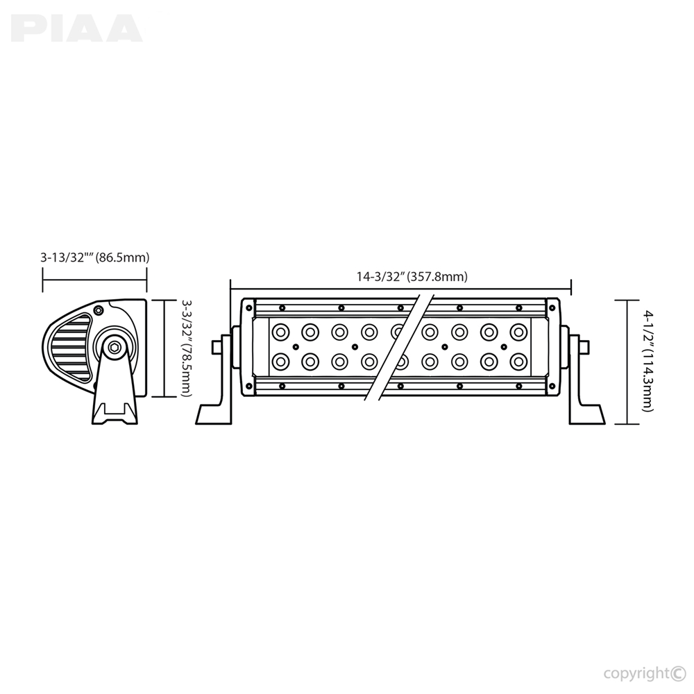 ... PIAA Quad 12inch LED Light Bar Dimensions ...