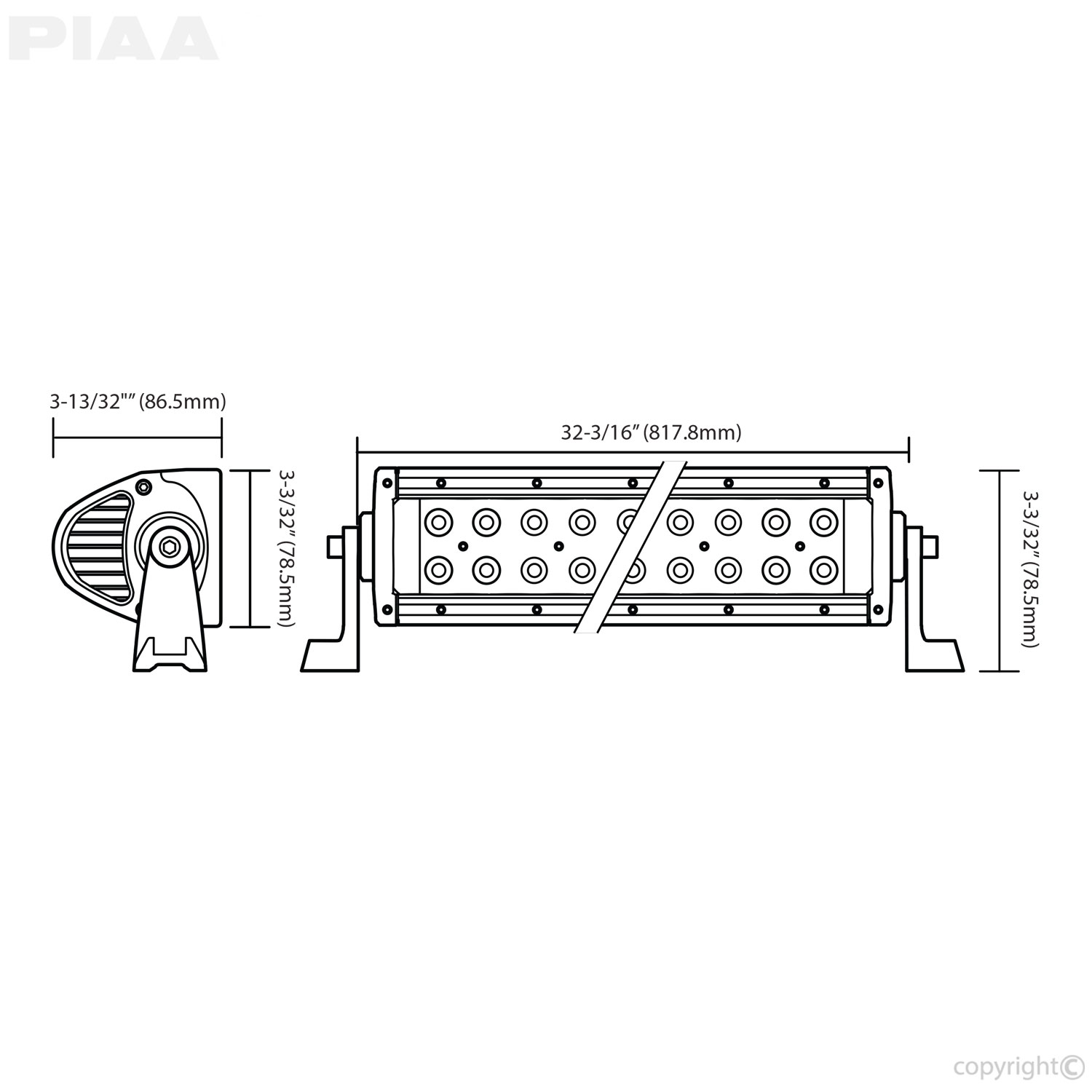 PIAA Quad 30inch LED Light Bar Dimensions