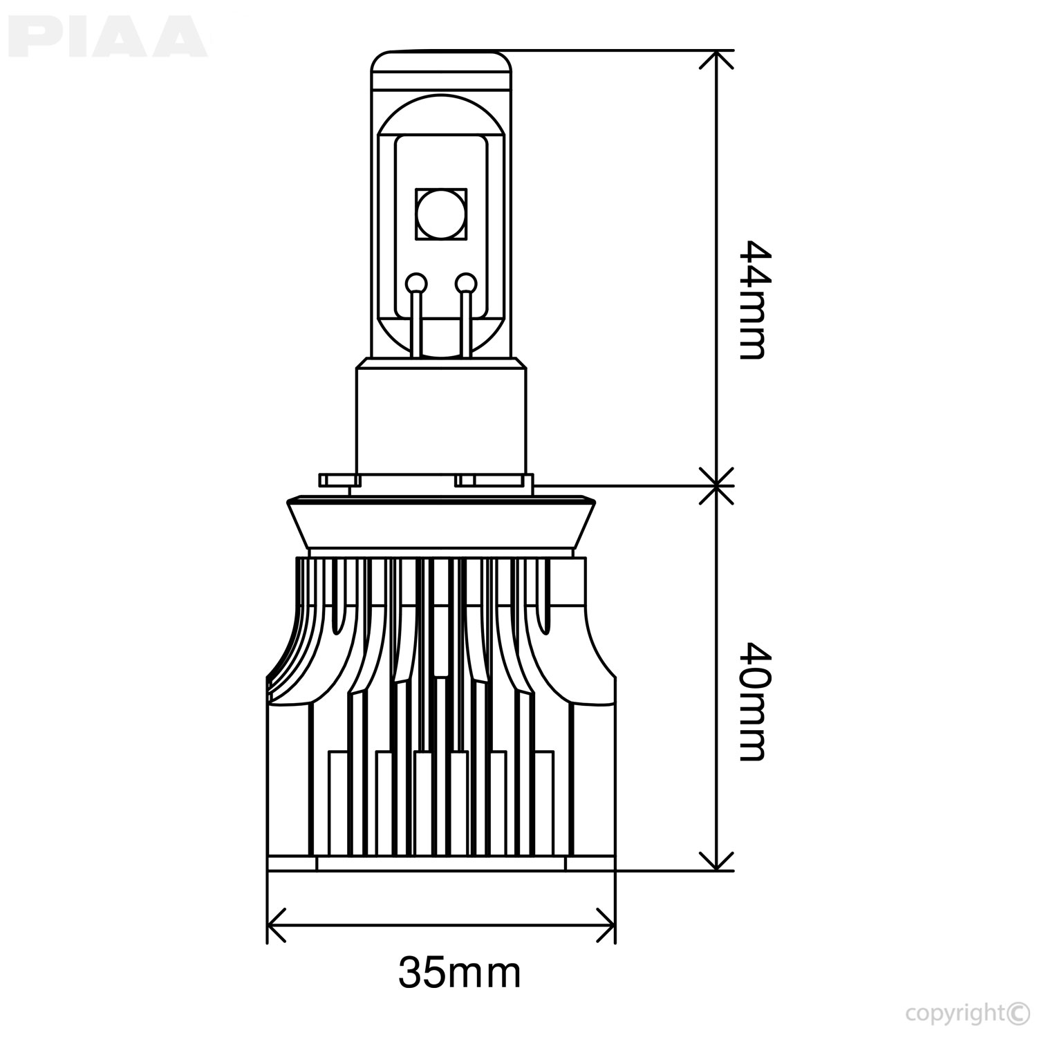 PIAA H16 Yellow LED Bulbs Line Art