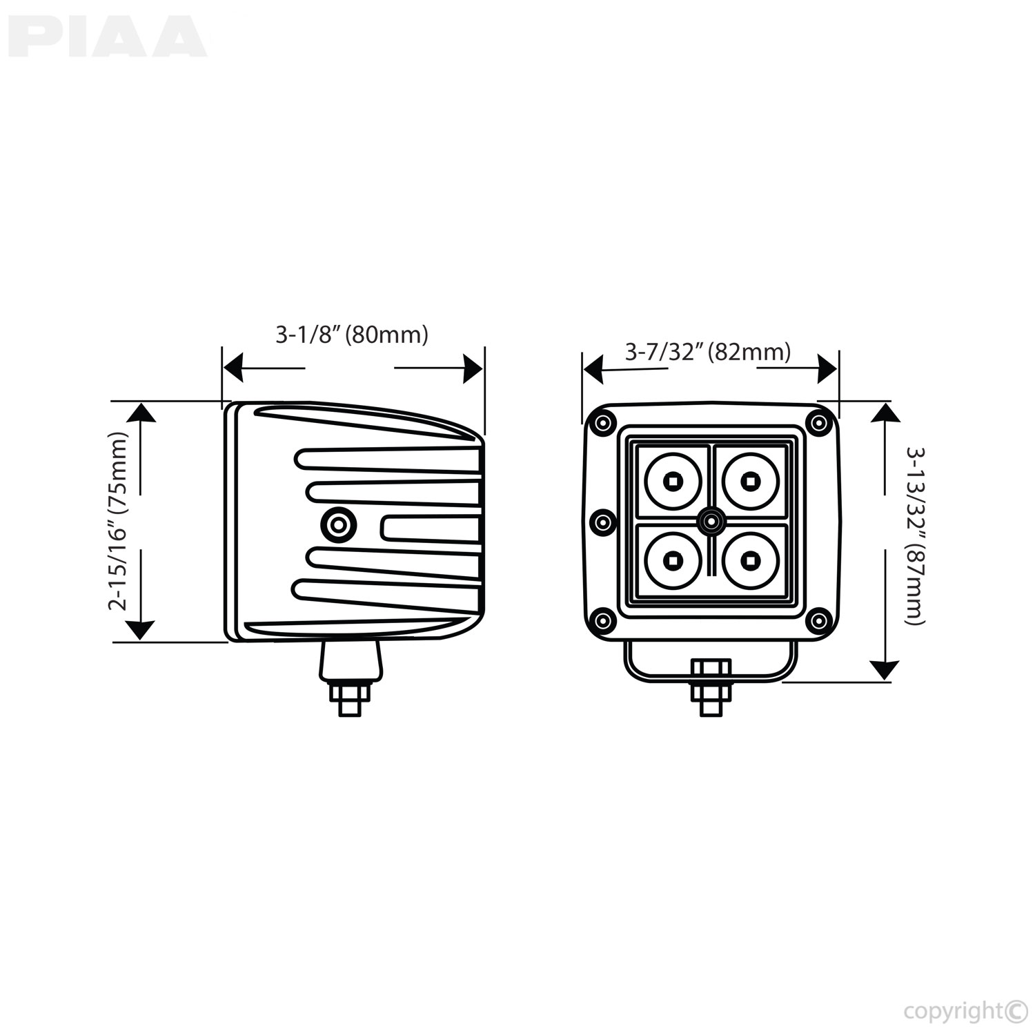 PIAA Quad LED Cube Lights Dimensions